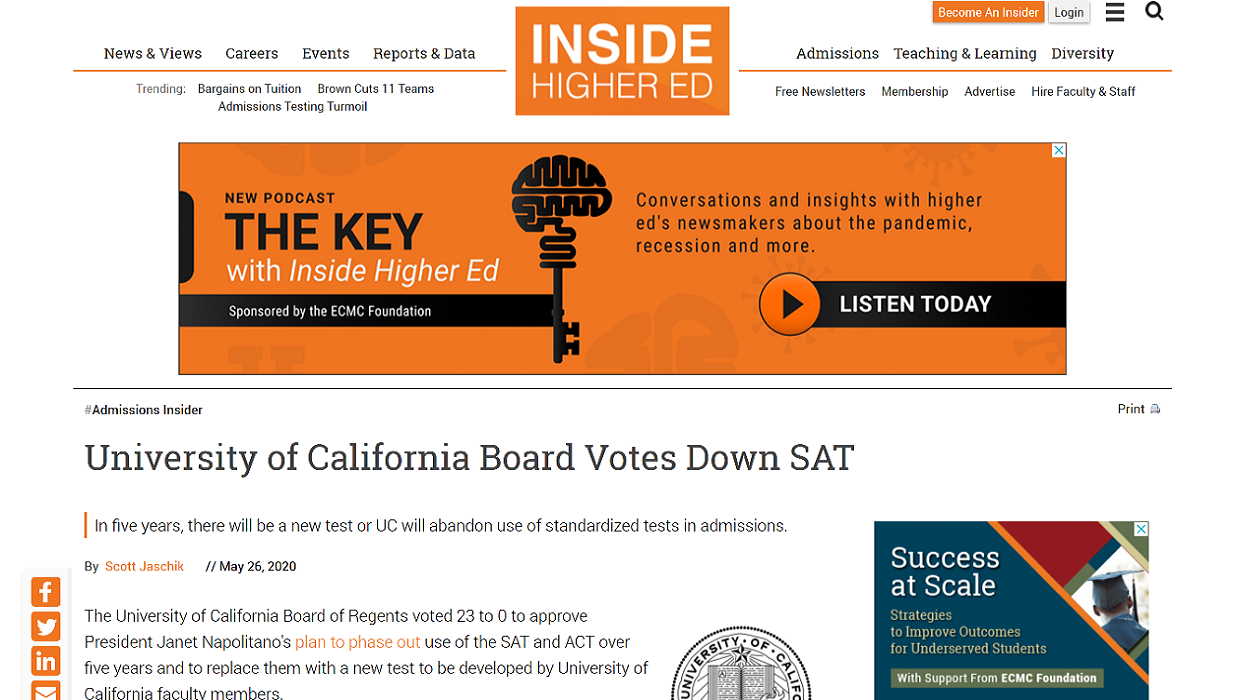 Inside Higher Ed: UC Board Votes Down SAT