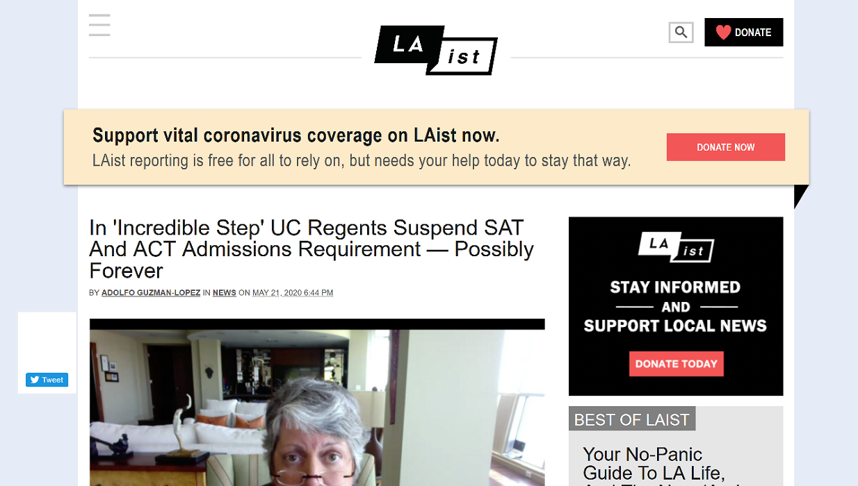 LAist: UC suspends SAT/ACT