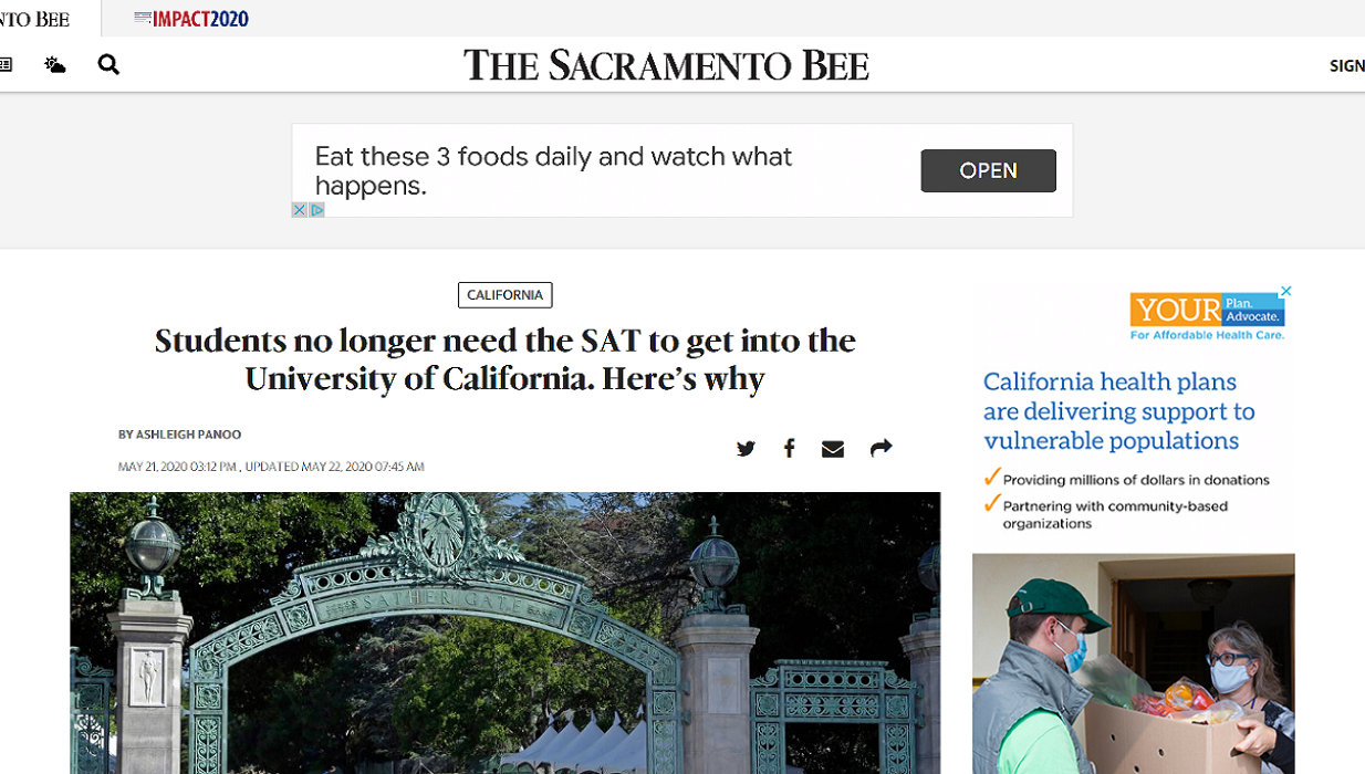 Sac Bee: UC Drops SAT