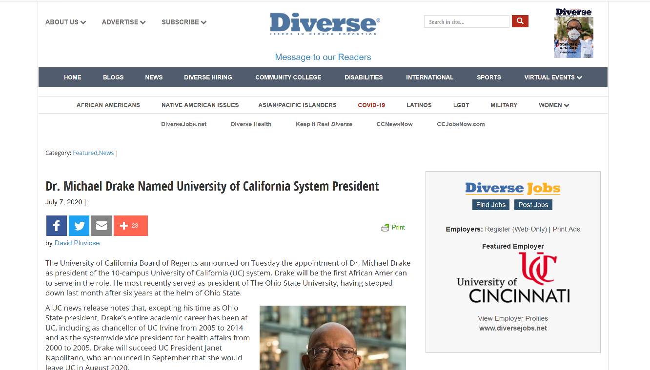 Article: Dr. Michael Drake Named UC President