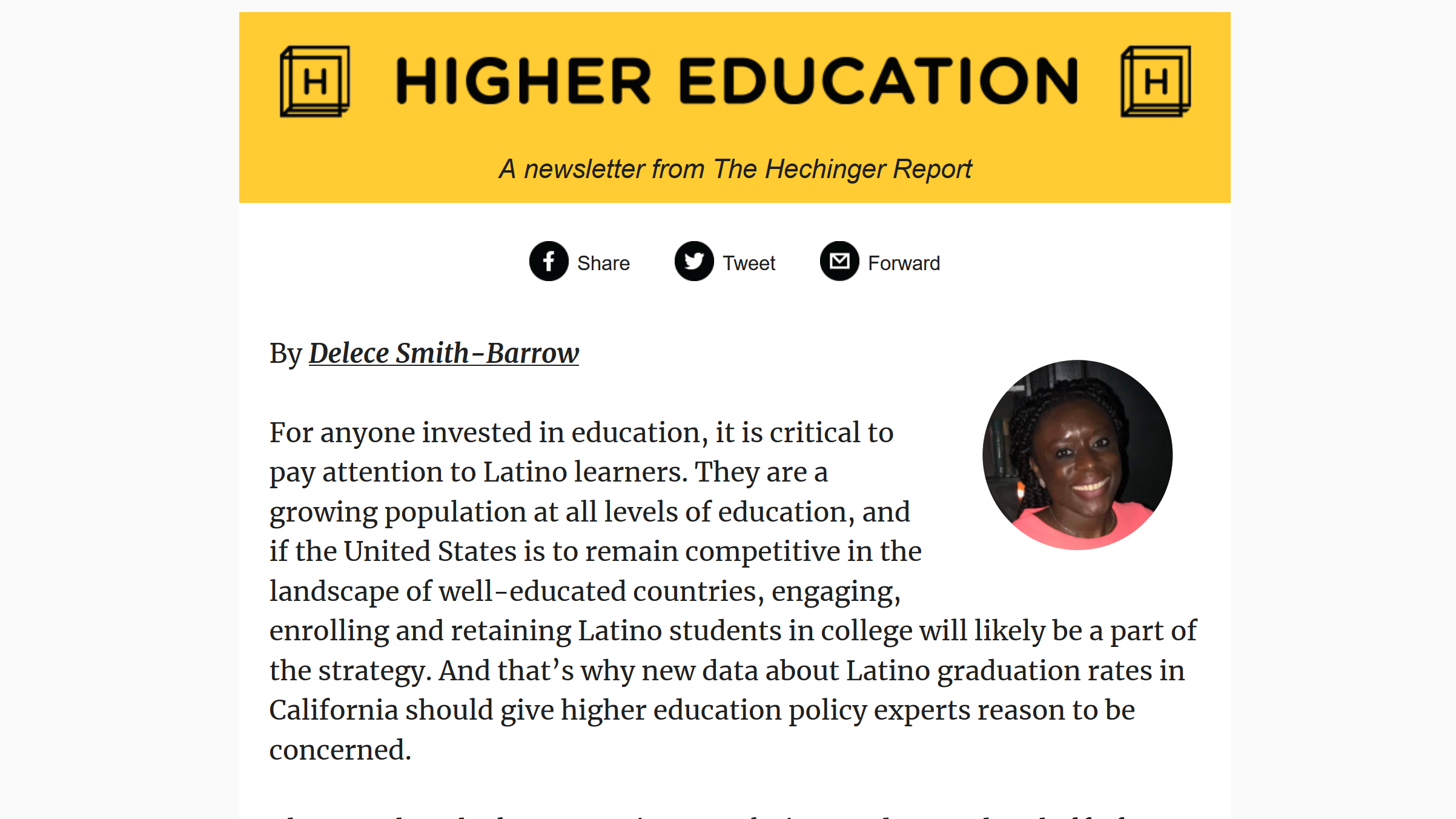 Hechinger Report Newsletter: California has the most Latinos, but most don't have a degree