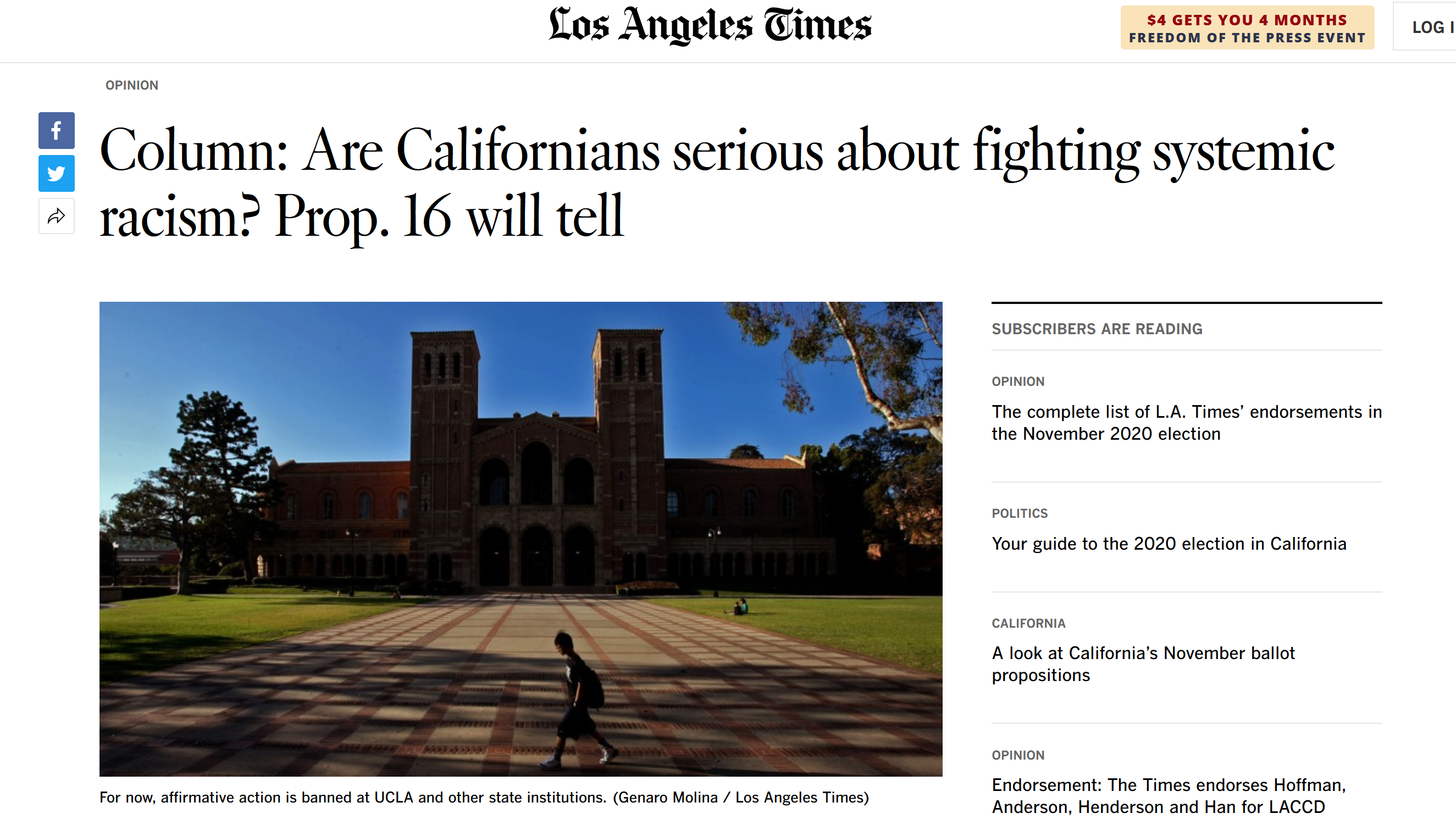LA Times: Are Californians Serious about fighting systemic racism?